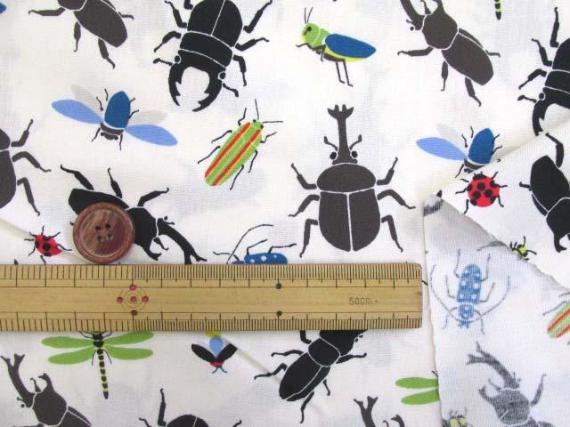 画像3: 🍀昆虫図鑑・昆虫柄 CB生地(オフ) はぎれ25cm