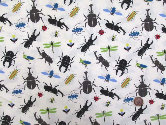 画像2: 🍀昆虫図鑑・昆虫柄 CB生地(オフ) はぎれ25cm