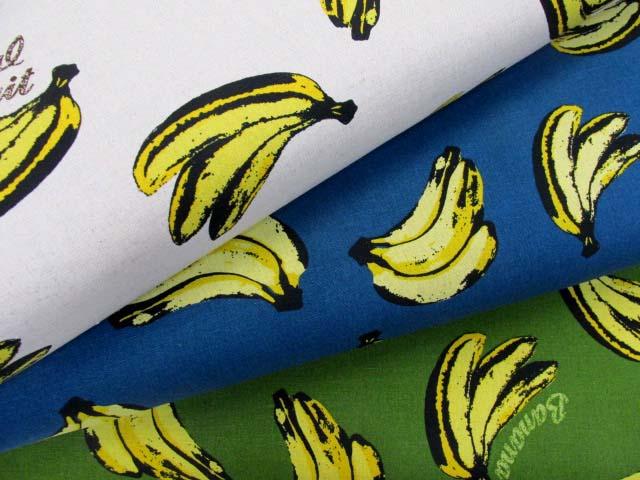 画像1: 綿麻キャンバス 英字・バナナ柄