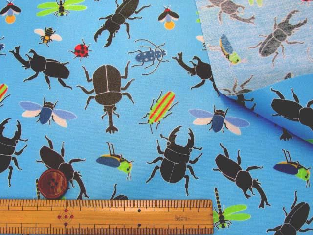 画像3: 昆虫図鑑・昆虫柄 CB生地  ラミネート はぎれ90cm↑(ブルー)