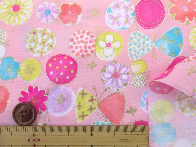 画像3: ☆セブンベリー お花と蝶々 ゴールドラメ入り ブロード生地 はぎれ20cm(ピンク)