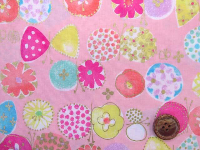 画像1: ☆セブンベリー お花と蝶々 ゴールドラメ入り ブロード生地 はぎれ20cm(ピンク)