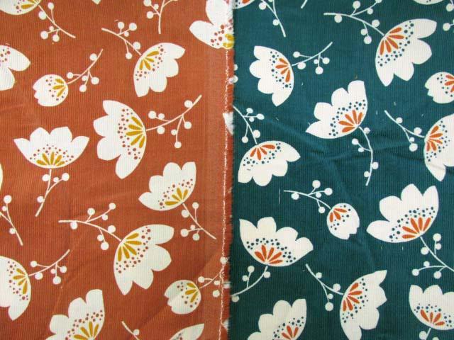 画像1: 細コール天 北欧テイスト ファンシーフラワー・花柄 コーデュロイ生地