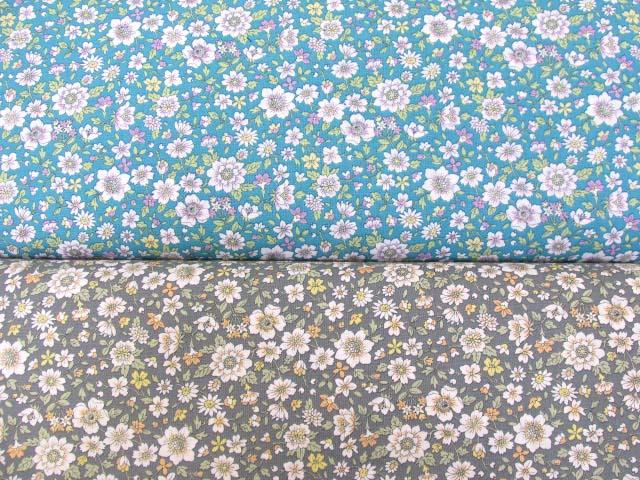 画像1: グレイスポップフラワー・花柄 シーチング生地
