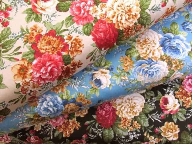 画像1: クラシックフラワー・花柄 ツイル生地