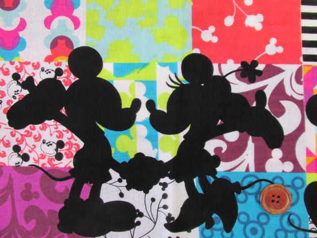 画像1: ♪ディズニー ミッキーマウス・ミニーマウス 両耳ボーダー柄 Wガーゼ生地 はぎれ50cm