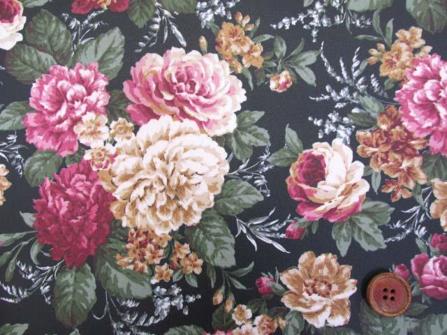 画像1: ▼クラシックフラワー・花柄 ツイル生地  ラミネート はぎれ20cm(ブラック)