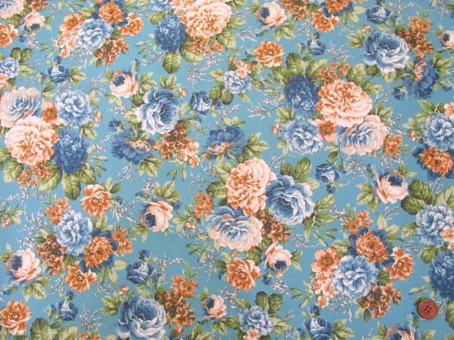 画像2: ▼訳あり クラシックフラワー・花柄 ツイル生地  ラミネート はぎれ70cm(ブルー)