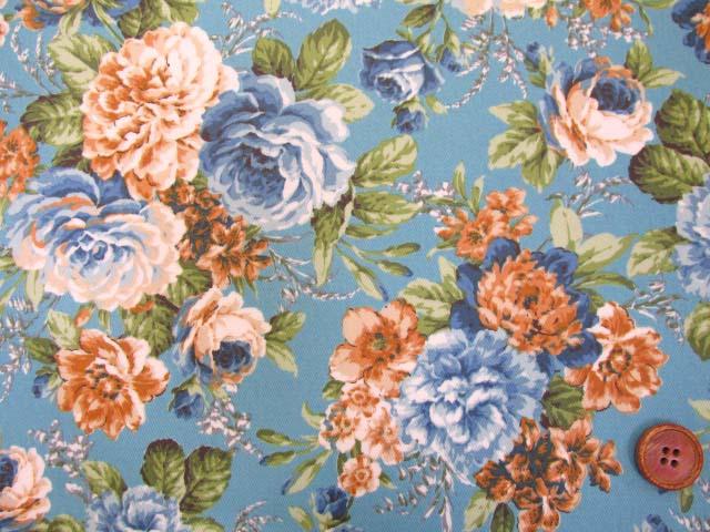 画像1: ▼訳あり クラシックフラワー・花柄 ツイル生地  ラミネート はぎれ70cm(ブルー)