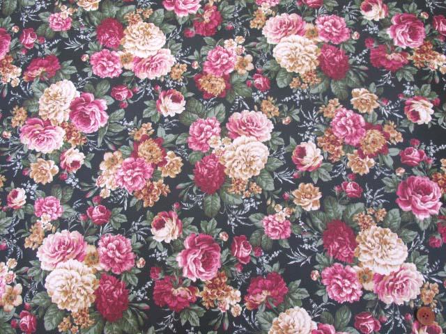 画像2: ▼クラシックフラワー・花柄 ツイル生地  ラミネート はぎれ20cm(ブラック)