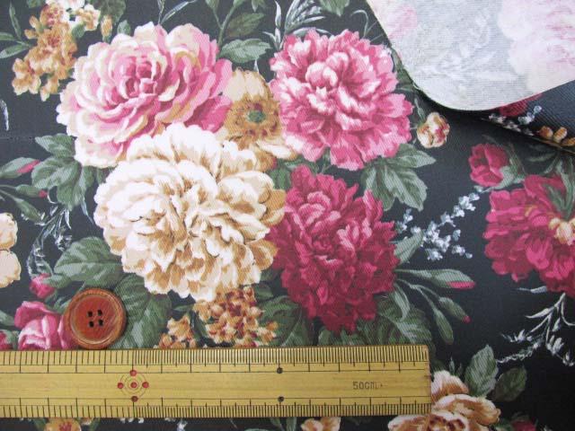 画像3: ▼クラシックフラワー・花柄 ツイル生地  ラミネート はぎれ20cm(ブラック)