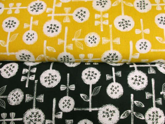 画像1: 綿麻キャンバス アジサイタッチ・フラワー・花柄