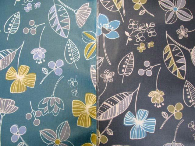 画像1: 北欧調 シンプルフラワー・花柄 シーチング生地  ラミネート つや消し
