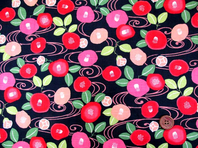 画像2: (3)和柄 椿・花柄・フラワー柄 ドビー生地 はぎれ80cm(黒)