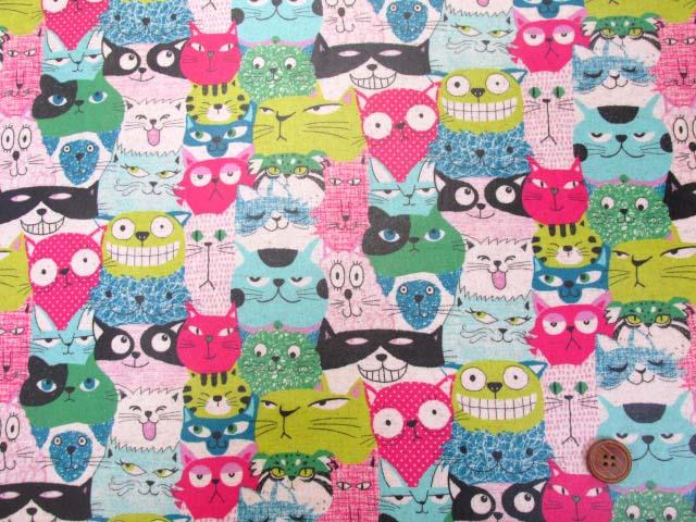 画像2: 綿麻キャンバス キャットパーク・ネコ・猫柄  ラミネートはぎれ90cm↑ (ピンク系)