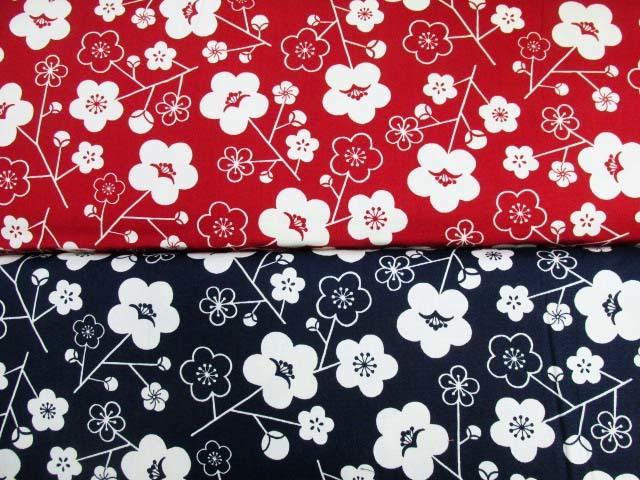 画像1: 和柄 梅の花柄 オックス生地