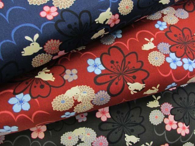 画像1: 和柄 お花とうさぎ柄 シーチング生地
