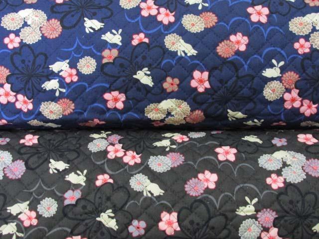 画像1: 和柄 お花とうさぎ柄 シーチング生地  全針キルト