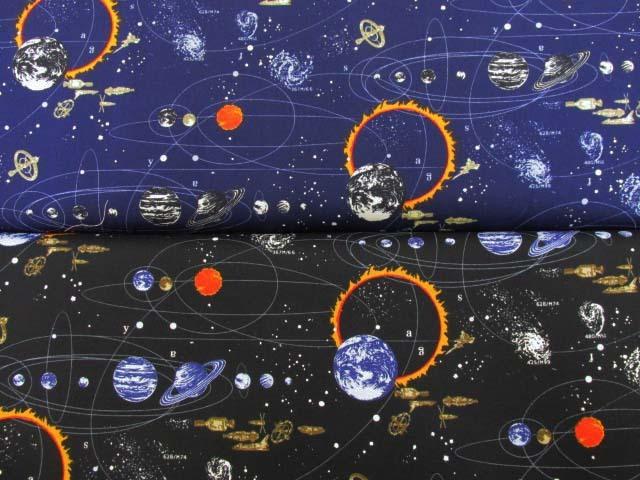 画像1: コスモ・太陽系・宇宙柄 オックス生地