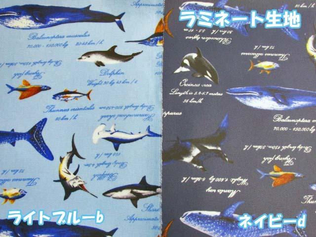 画像1: 海の生き物 サメ・イルカ・カジキ柄 オックス生地 ラミネート つや消し