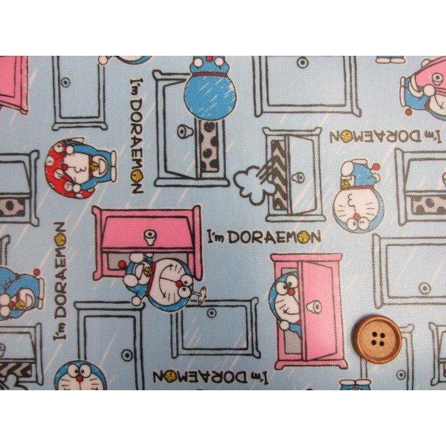 画像1: 2018年 ドラえもん I'm Doraemon柄 (ブルー) オックス生地 ラミネート つや消し