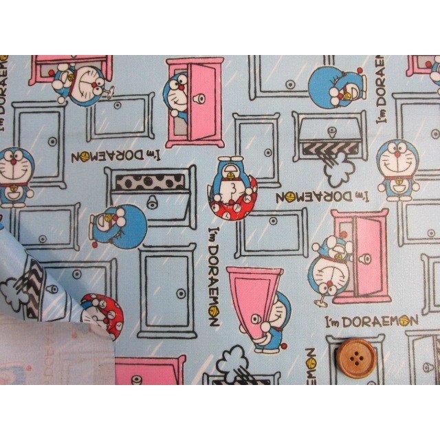 画像3: 2018年 ドラえもん I'm Doraemon柄 (ブルー) オックス生地 ラミネート つや消し