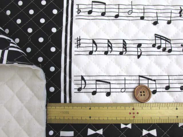 画像3: ピアノ・鍵盤・ドット・リボン・スクエア柄 オックス生地 (モノトーン) 全針キルト