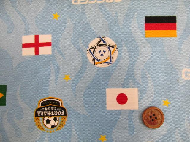 画像1: サッカー・国旗柄 オックス生地