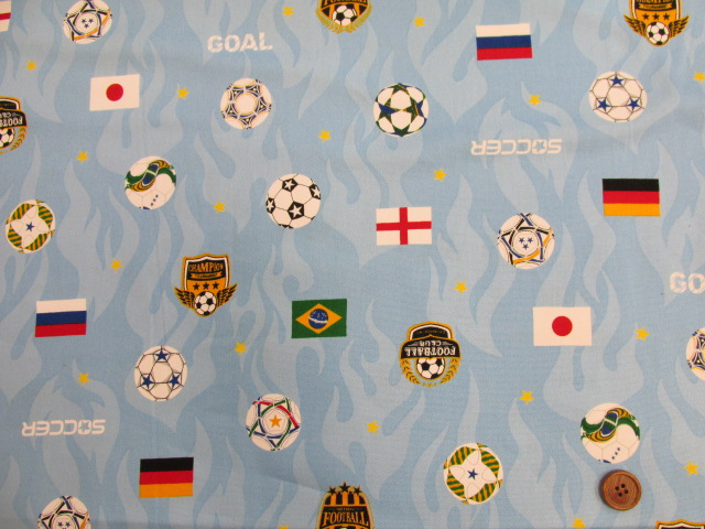 画像2: ▼サッカー・国旗柄 オックス生地◆訳ありはぎれ30cm