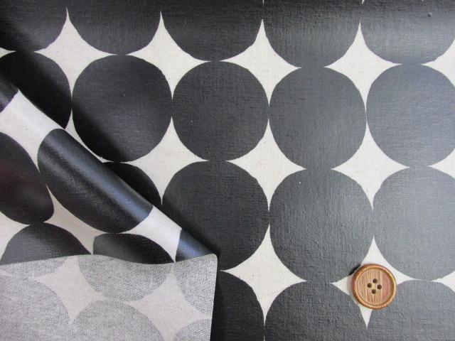画像3: 綿麻キャンバス 和楽美 ナチュラルペイントドット (ブラック) ラミネート