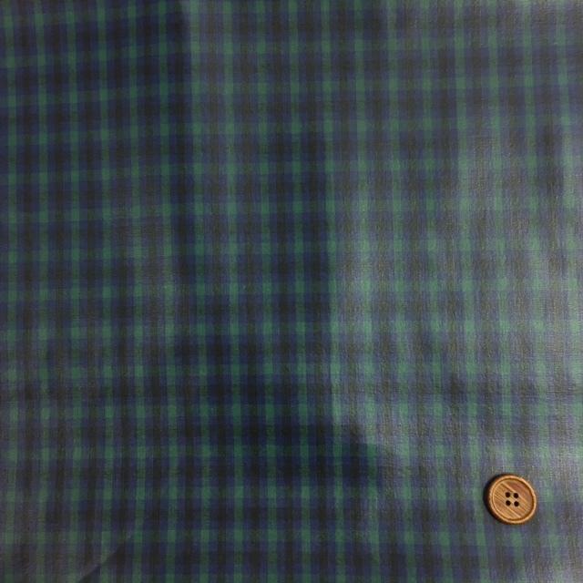 画像2: 先染め生地カントリーチェック(緑)ラミネート  つや消し