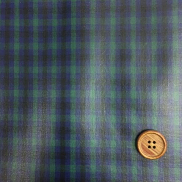 画像1: 先染め生地カントリーチェック(緑)ラミネート  つや消し