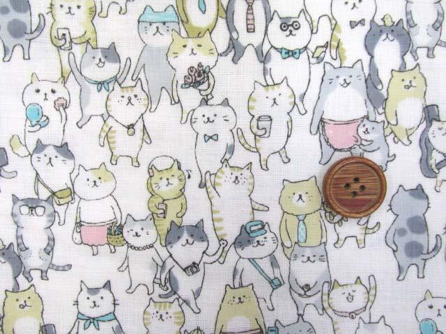 画像1: Wガーゼ生地 ネコのおさんぽ(オフ)