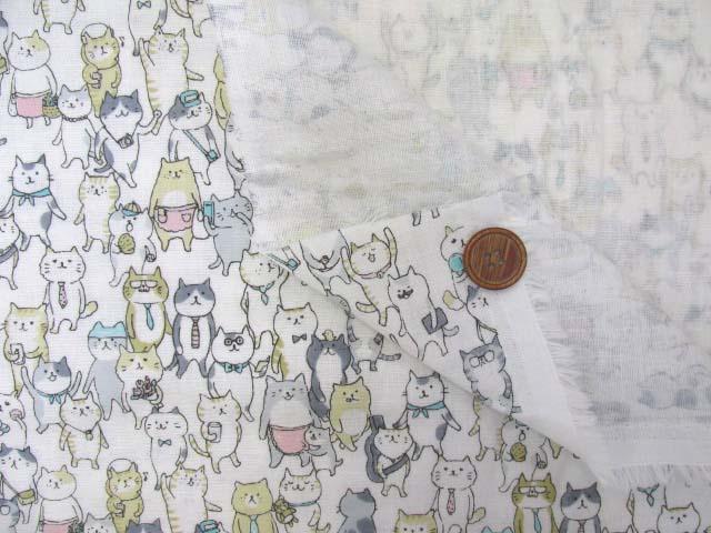画像3: Wガーゼ生地 ネコのおさんぽ(オフ)