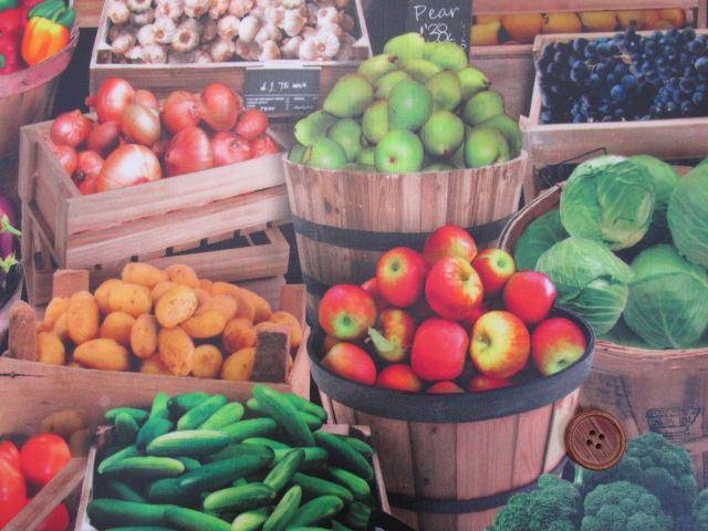 画像1: フルーツ・野菜・市場・露店柄 インクジェットプリント シーチング生地 ラミネート 半ツヤ
