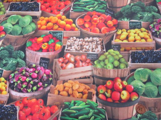 画像2: フルーツ・野菜・市場・露店柄 インクジェットプリント シーチング生地 ラミネート 半ツヤ