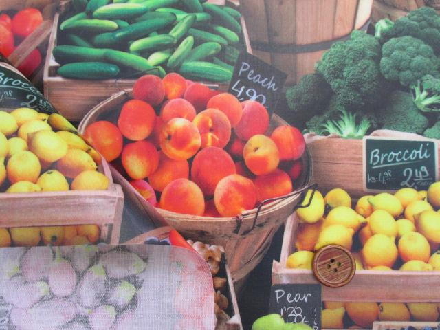 画像3: フルーツ・野菜・市場・露店柄 インクジェットプリント シーチング生地 ラミネート 半ツヤ