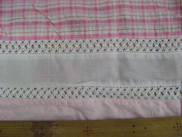 画像1: 値下げしました。インド綿パッチワーク(ピンク)B1m以上
