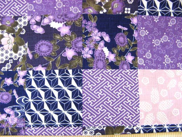 画像1: (1)半額!和柄 パッチワーク柄ドビー生地(紫)はぎれ1m10cm