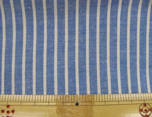 画像1: 綿ダンガリー 生成のストライプ(ブルー地)