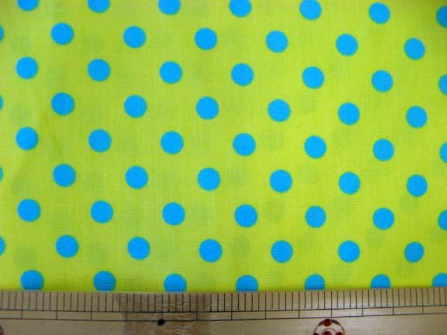 画像1: 黄色地にブルーのドット柄(7mm)ブロード生地