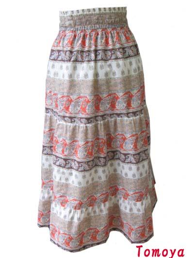 画像1: ペイズリー ボーダー柄  3段ティアードスカート