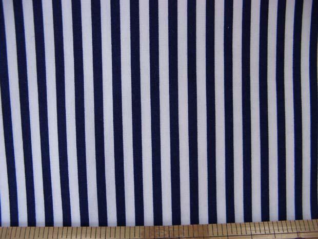 画像1: 定番 ストライプ【中】柄 ブロード生地(紺)