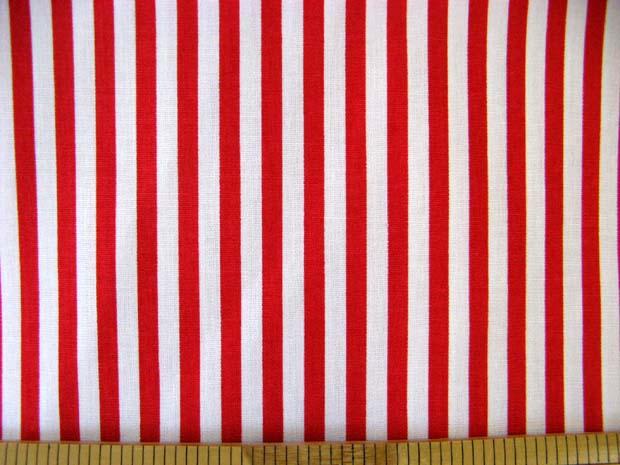 画像1: 定番 ストライプ【中】柄 ブロード生地(赤)