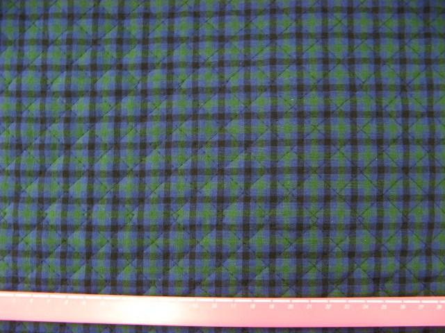画像1: 先染めチェックキルティング(緑x紺)