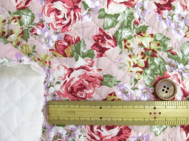 画像3: フレンチ ローズブーケ 花 バラ柄 (ピンク地)ブロード生地 全針キルト