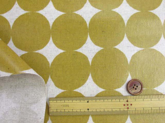 画像3: 綿麻キャンバス 和楽美 ナチュラルペイントドット(マスタード)ラミネートはぎれ85cm↑