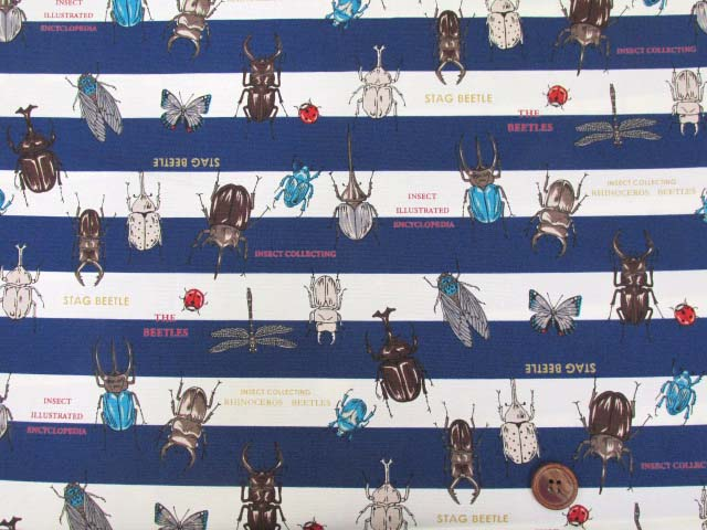 画像2: 🍀昆虫図鑑・カブトムシ・クワガタムシ・ボーダー柄 オックス生地 (紺) はぎれ1m30cm