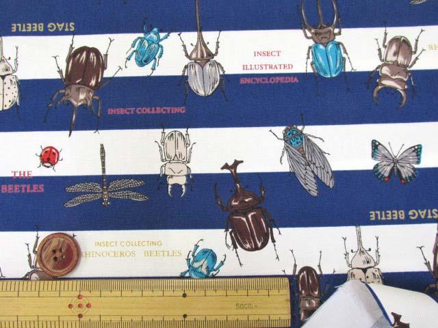 画像3: 🍀昆虫図鑑・カブトムシ・クワガタムシ・ボーダー柄 オックス生地 (紺) はぎれ1m30cm