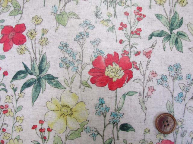 画像1: 綿麻キャンバス 水彩タッチ ボタニカルフラワー・花柄(生成り) ラミネート つや消し